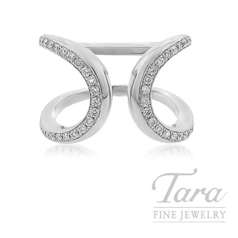 18k White Gold Open-face Diamond Fashion Ring, 8.1G, .40TDW