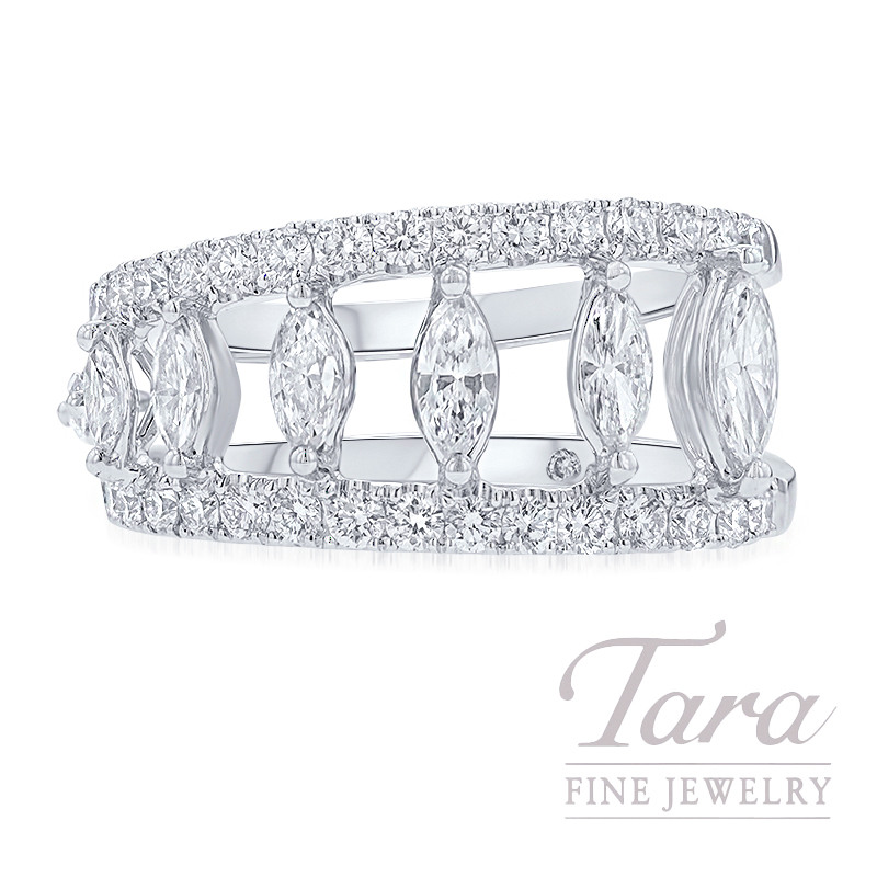 18K White Gold Marquise Diamond Fashion Ring, 6.9G, 1.47TDW