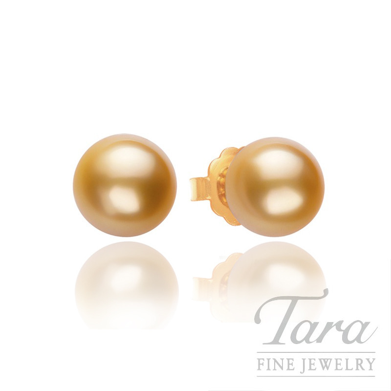 Mikimoto Pearl Stud Earrings with 11mm Golden South Sea Pearls, A  Quality