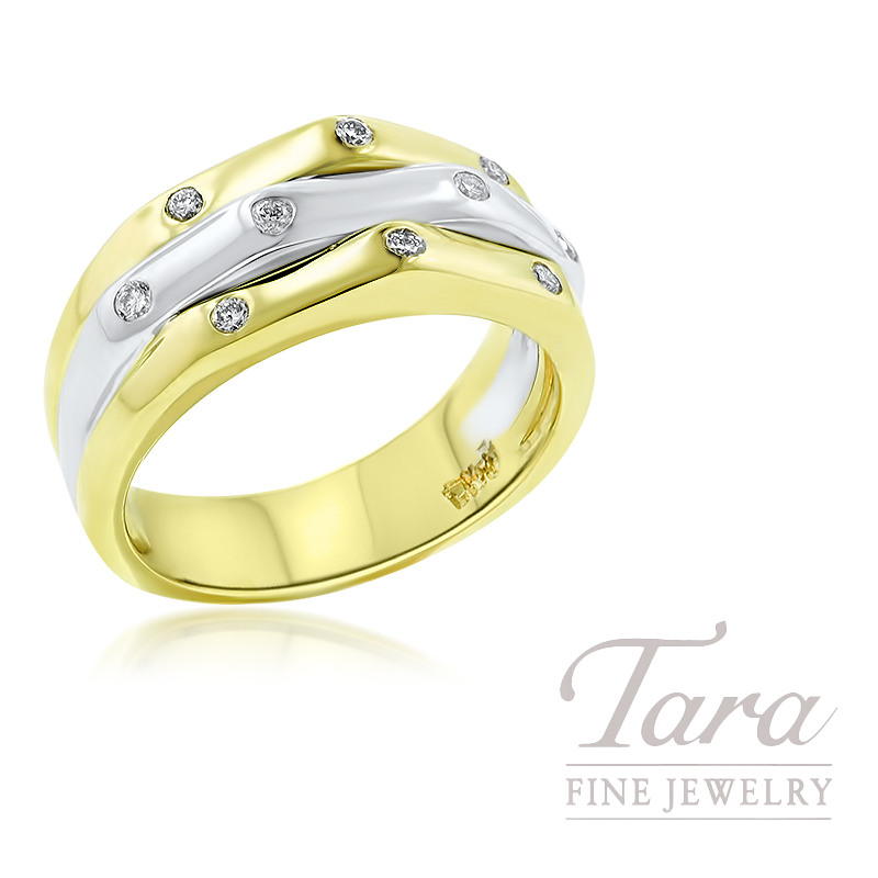 14K Two-Tone Diamond Fashion Ring, 4.8G, .16TDW
