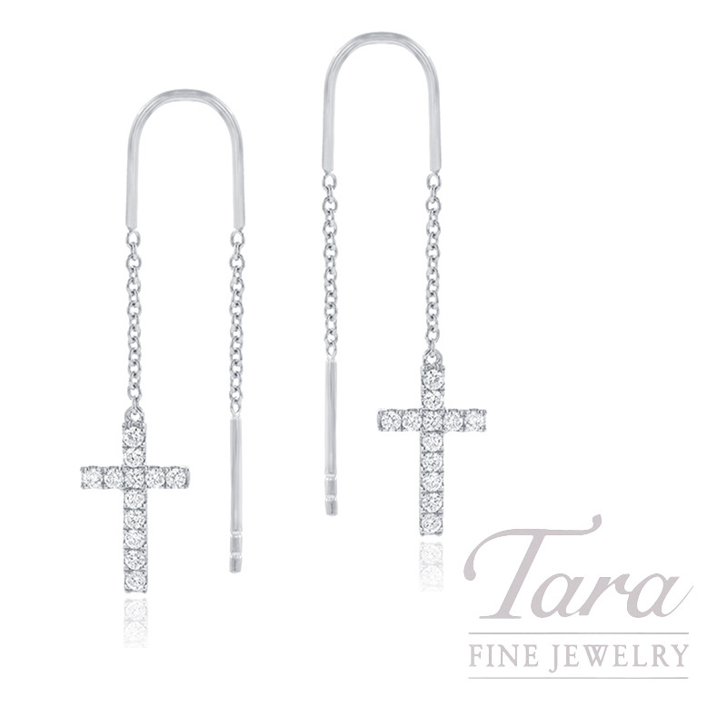 18K White Gold Diamond Cross Threader Earrings, .25TDW
