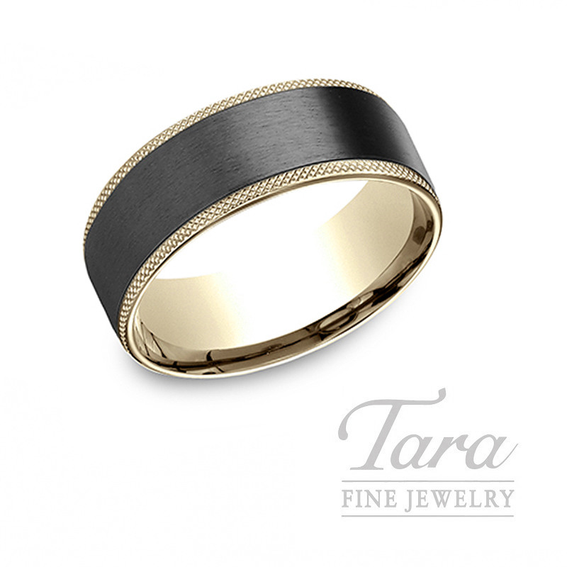 Gentlemen's 18k Yellow Gold and Black Titanium Wedding Band, 12.0G