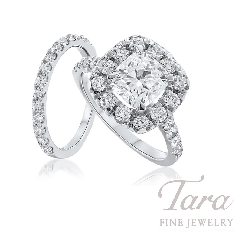 18k White Gold Diamond Halo Wedding Set, 1.43TDW (Center Stone Sold Separately)
