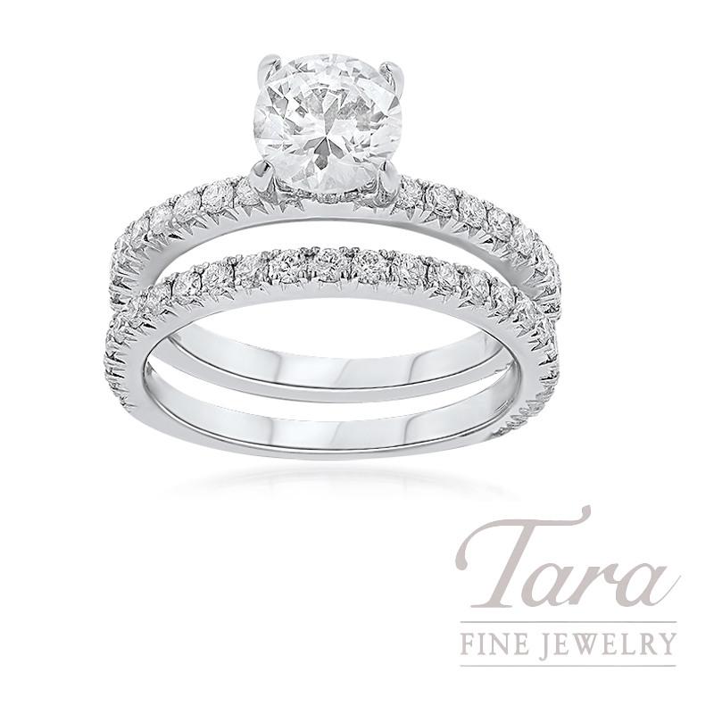 18K White Gold Diamond Wedding Set, .90TDW (Center Stone Sold Separately)