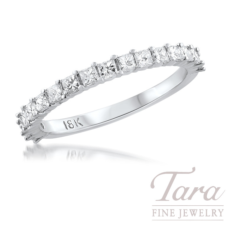 18K White Gold Diamond Band 17 Round Diamonds, 0.53TDW