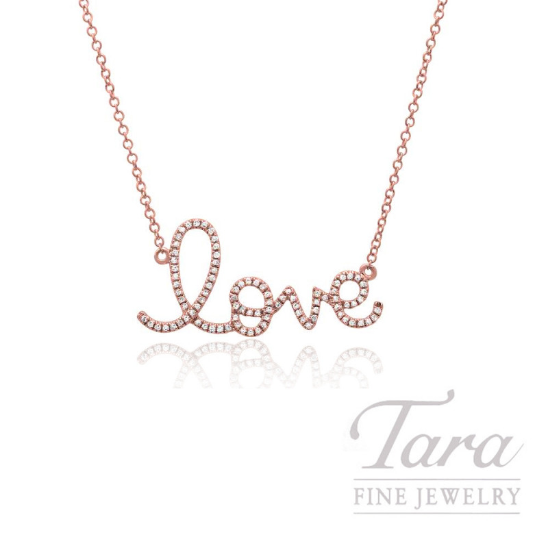 "14k Rose Gold Signature Love Diamond Necklace, 16/18"" Chain, .17TDW"