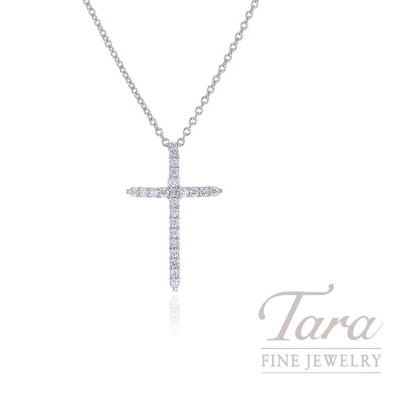 Roberto Coin 18K White Gold Diamond Sliver Cross Necklace, .10TDW