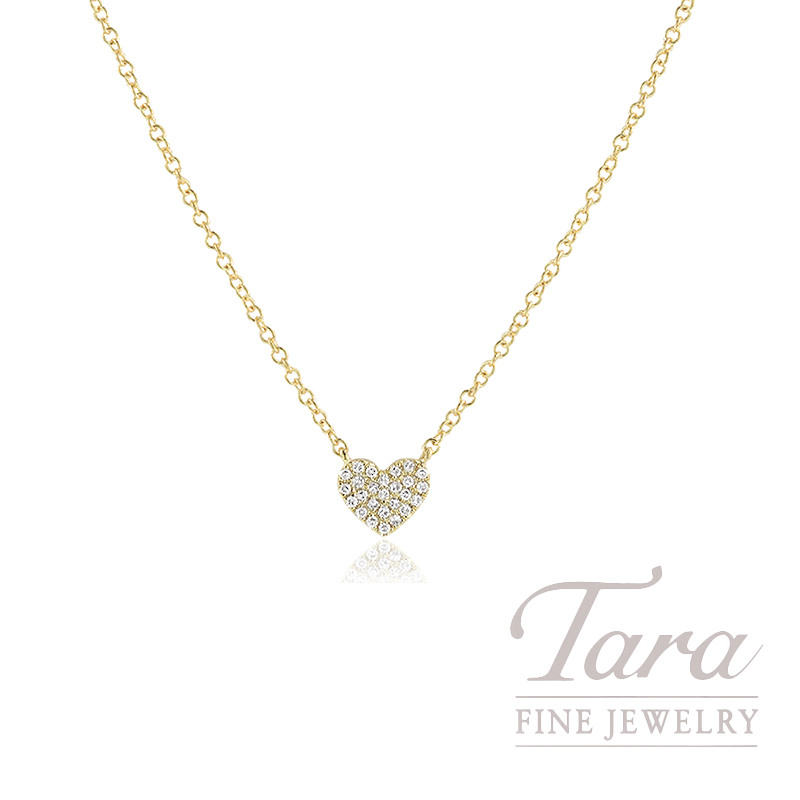 """18K Yellow Gold Pave Diamond Heart Necklace, 16/17/18"""" Chain, 1.9G, .08TDW"""