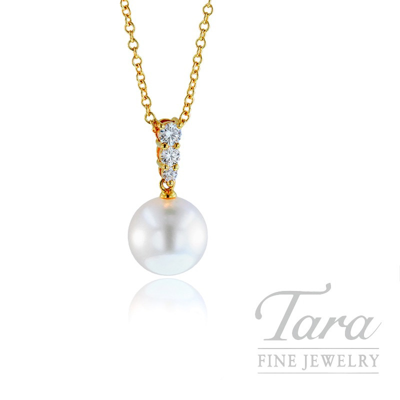 Mikimoto Pearl & Diamond Pendant in 18k Yellow Gold, .25tdw
