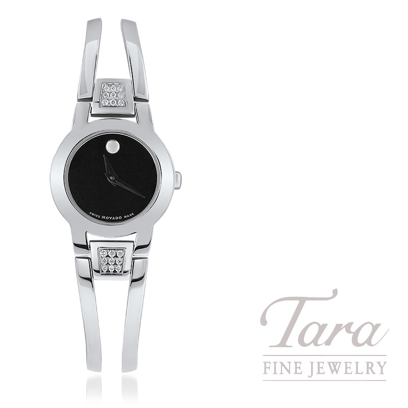 Pre Owned Ladies Quartz Movado Watch Museum Dial 18 Diamonds On