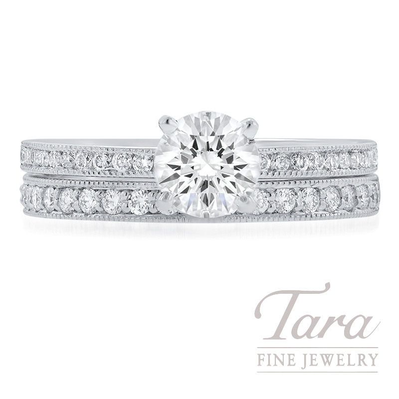 Tacori 18k White Gold Forevermark Diamond Wedding Set, .70CT Forevermark Diamond, 6.6G, .43TDW (Center Stone Sold Separately)
