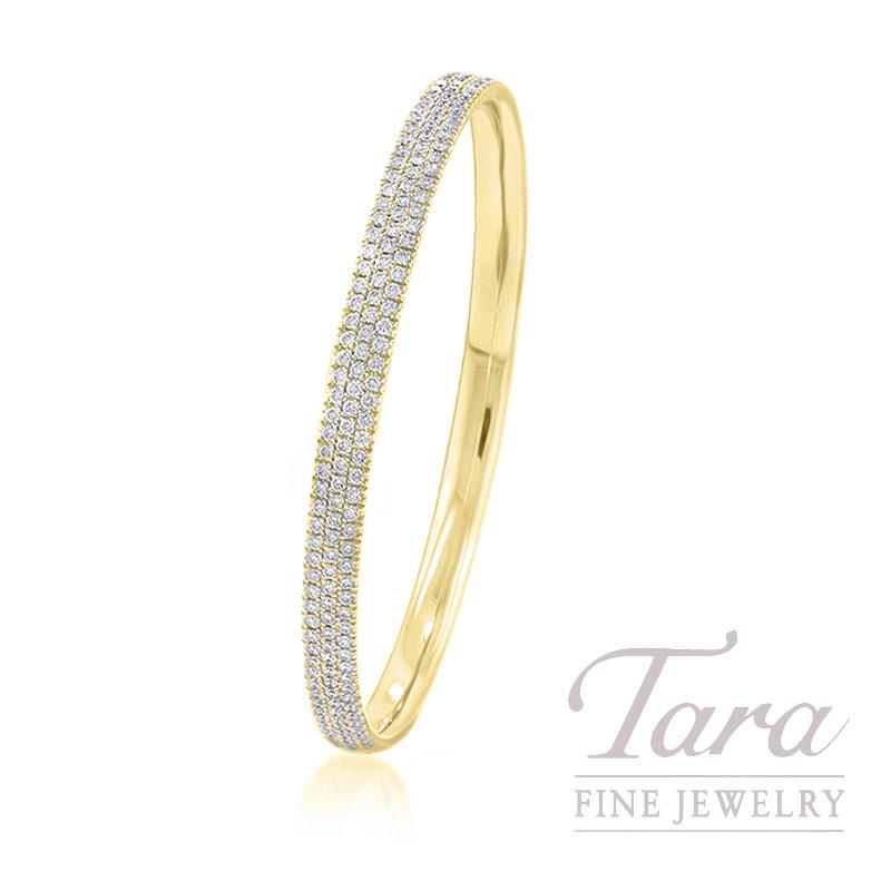 18K Yellow Gold Pave Diamond Bangle, 24.3G, 5.00TDW