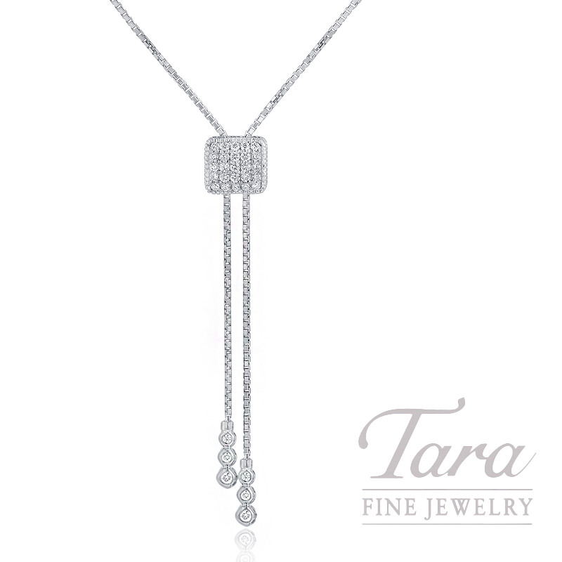 18K White Gold Diamond Lariat Necklace, 8.7G, .35TDW