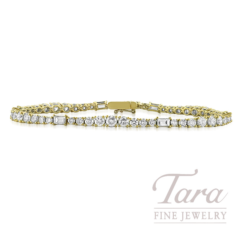 18k Yellow Gold Baguette And Round Diamond Bracelet 5 82tdw