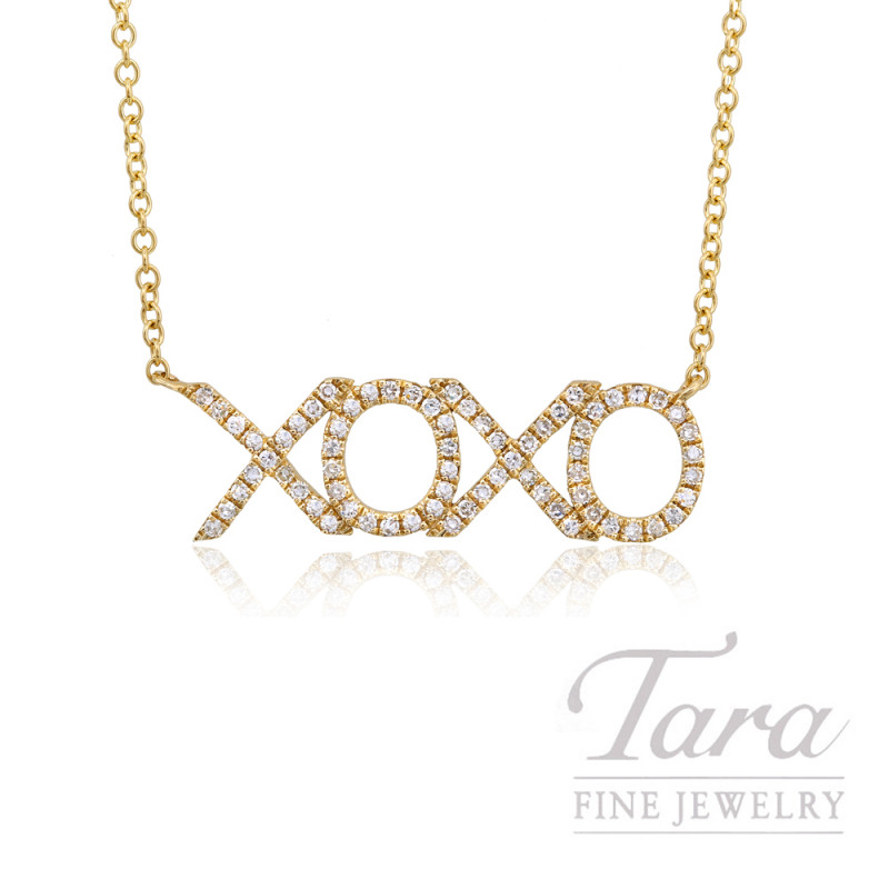 "14k Yellow Gold ""XOXO"" Diamond Necklace, 16/18"" Chain, .19TDW"