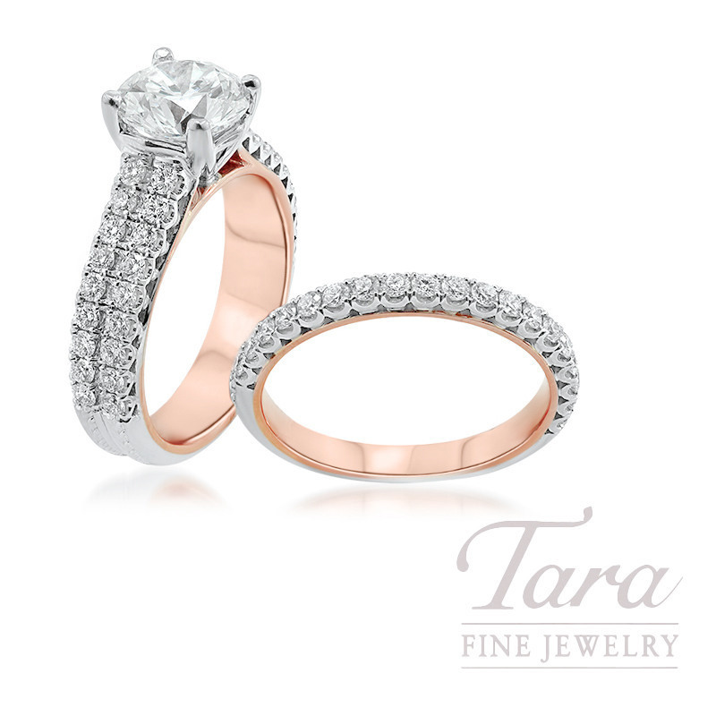 Jack Kelege 14K Rose Gold & 18K White Gold Forevermark Diamond Wedding Set, 2.14CT. Forevermark Diamond, 11.0G, 1.17TDW (Center Stone Sold Separately)