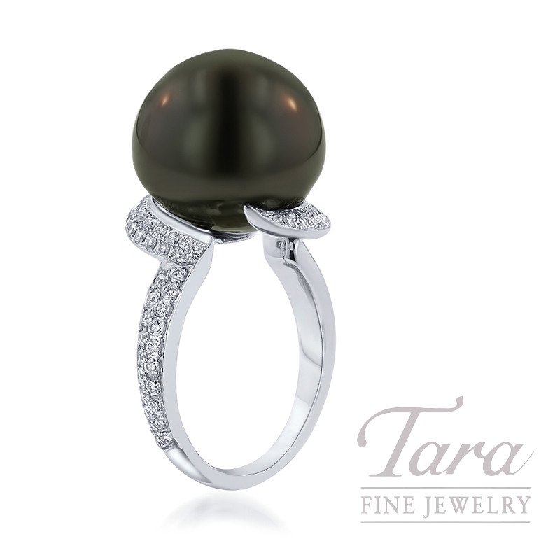 18K White Gold Freshwater Black Pearl and Pave Diamond Ring, 15mm Black Pearl, 9.3G, .76TDW