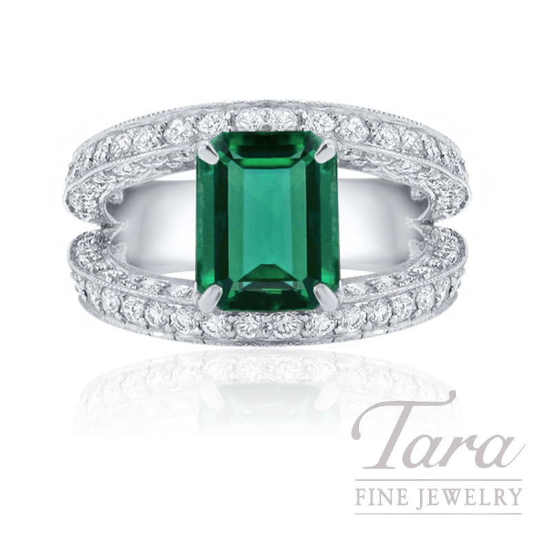 J.B. Star Platinum Green Emerald and Diamond Engagement Ring, 2.08CT Green Emerald, 2.12TDW (Center Stone Sold Separately)