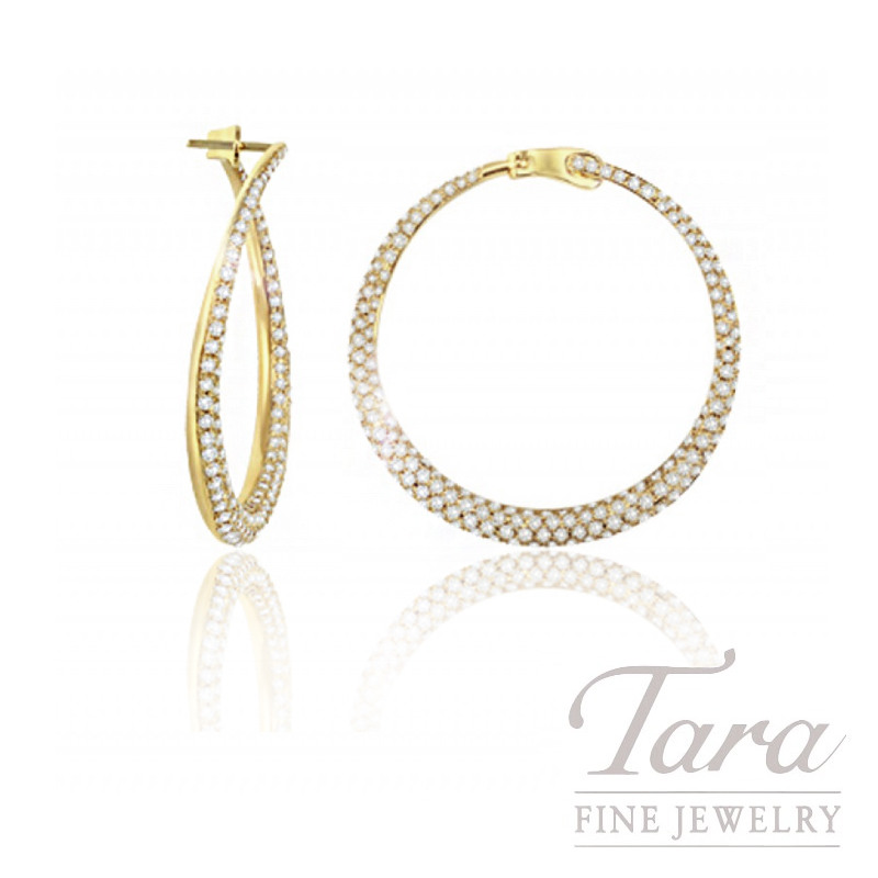 18K Yellow Gold Off-set Pave Diamond Hoop Earrings, 3.0TDW