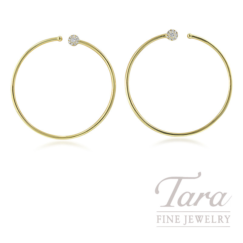 18K Yellow Gold Diamond Hoop Earrings, 7.2G, .20TDW