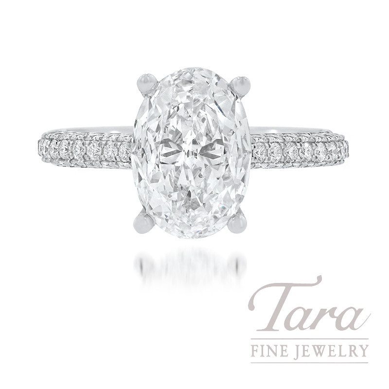 18K White Gold Oval-shape Diamond Pave Engagement Ring, 2.08CT Oval-shape Diamond, .79TDW (Center Stone Sold Separately)