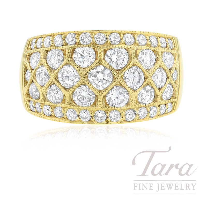 18k Yellow Gold Diamond Ring, 13.6G, 1.96TDW