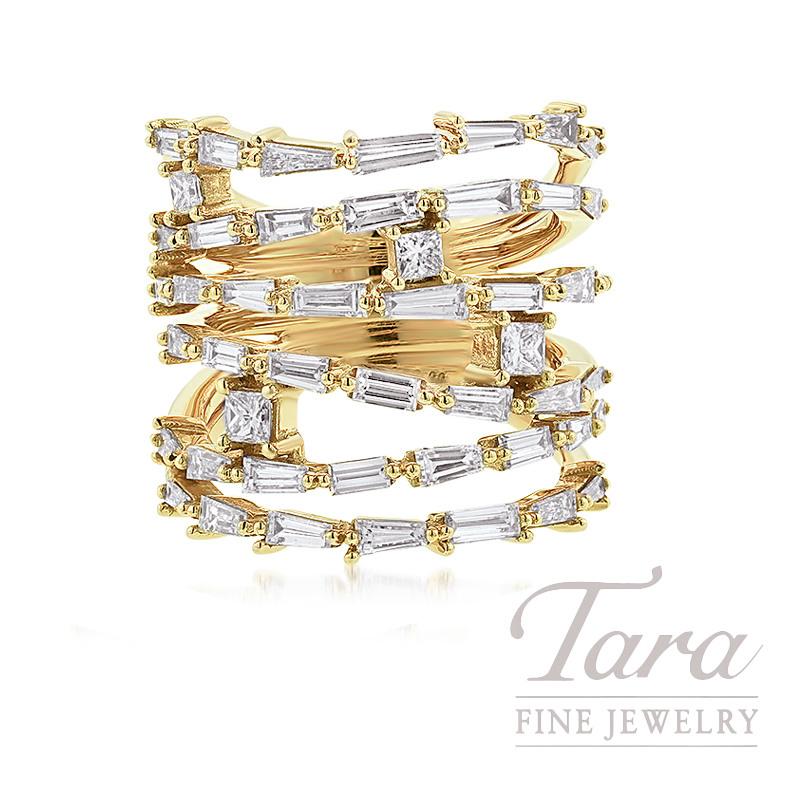 18k Yellow Gold Princess Cut & Baguette Diamond Ring, 14.1G, .32TW Princess Cut Diamonds, 2.75TW Baguette Diamonds, 3.07TDW