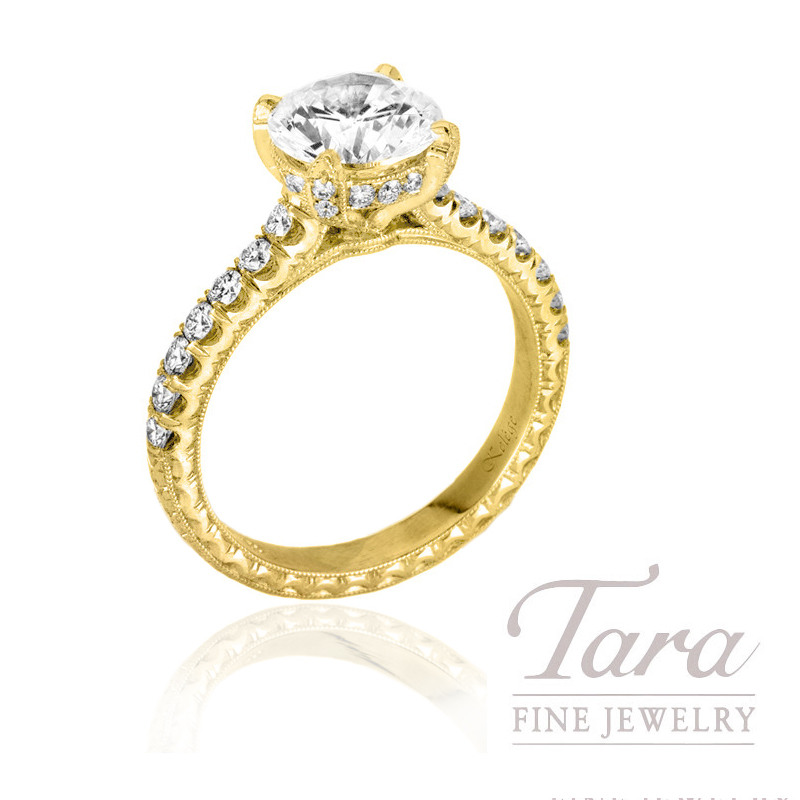 Jack Kelege 18k Yellow Gold Diamond Engagement Ring, 1.40CT Round Diamond, 4.4G, .60TDW (Center Stone Sold Separately)
