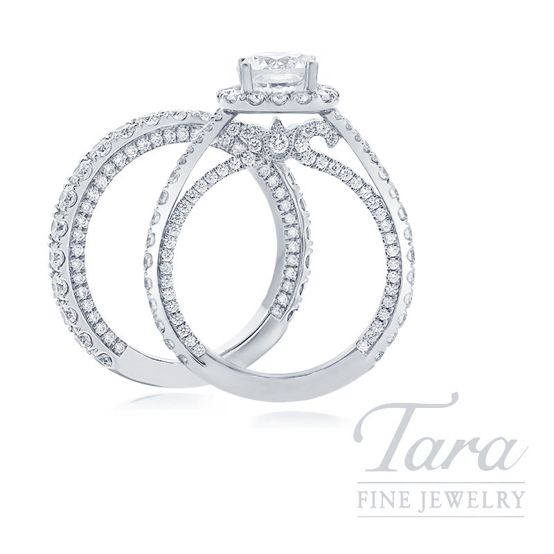 18k White Gold Diamond Halo Wedding Set, 1.98TDW (Center Stone Sold Separately)