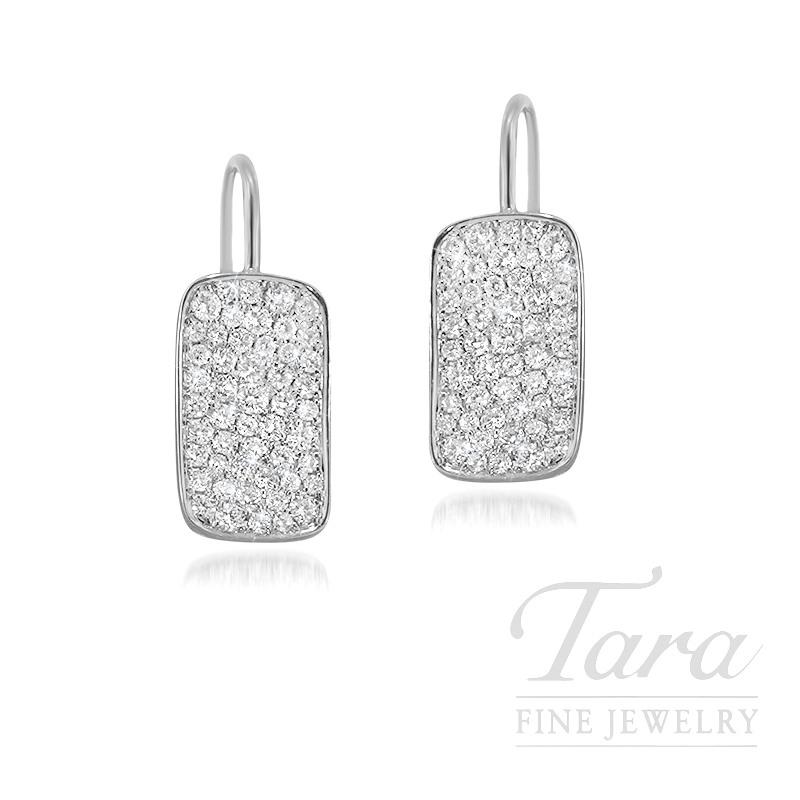 18K White Gold Pave Diamond Earrings, 3.1G, .71TDW