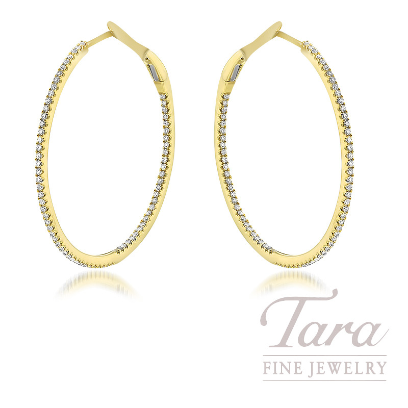 18K Yellow Gold Diamond Hoop Earrings, 142 Round Diamonds, 0.49TDW