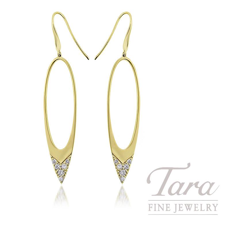 18K Yellow Gold Diamond Dangle Earrings, 5.6G, .35TDW