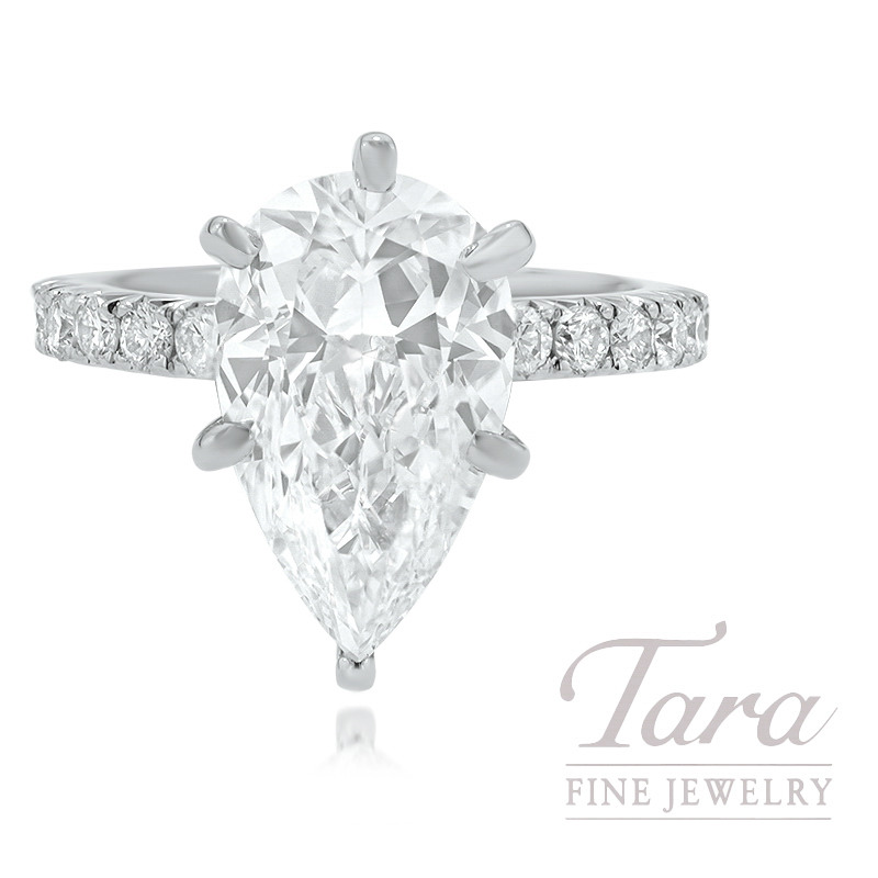 18K White Gold Custom Diamond Semi MT 4.3G 18 Round Diamonds .72TDW, 4.15CT Pear Shape Diamond J-VS1 (Center Stone Sold Separately)