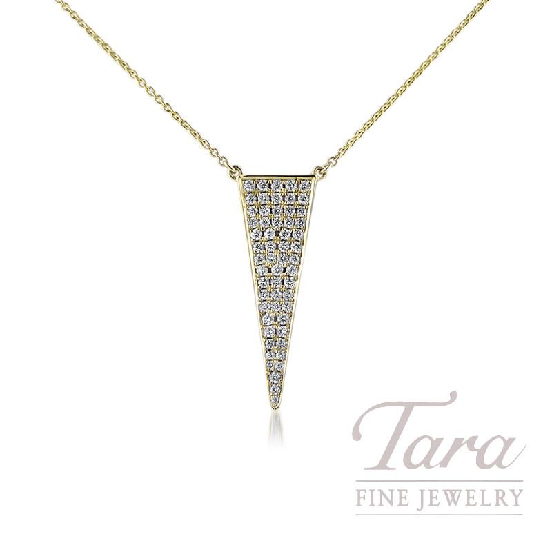 "18K Yellow Gold Point Diamond Necklace, 16/18"" Chain, 3.5G, .32TDW"