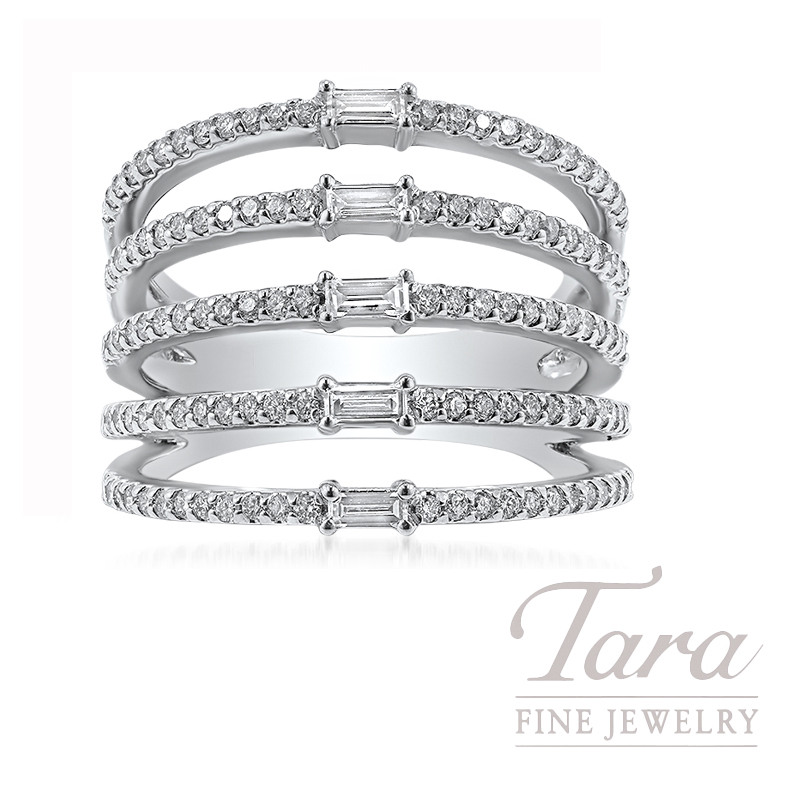 Norman Covan 18k White Gold Baguette Diamond Fashion Ring, 8.1G, .18TW Baguette Diamonds, .55TW Round Diamonds
