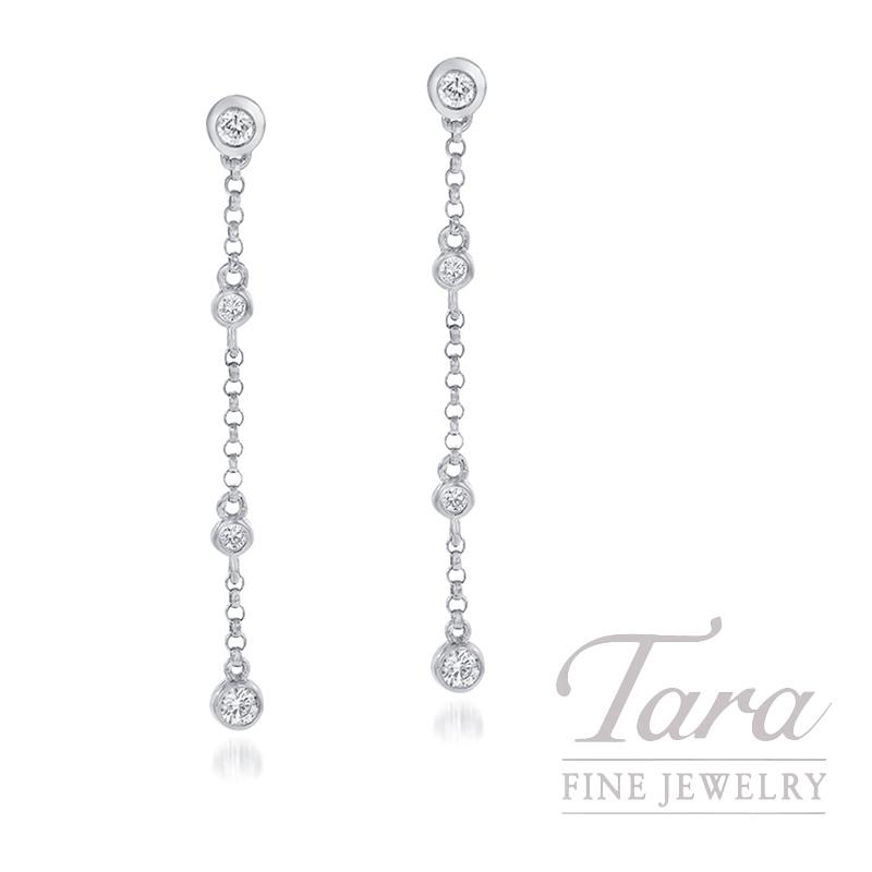 18K White Gold Diamond Bezel Dangle Earrings, .23TDW