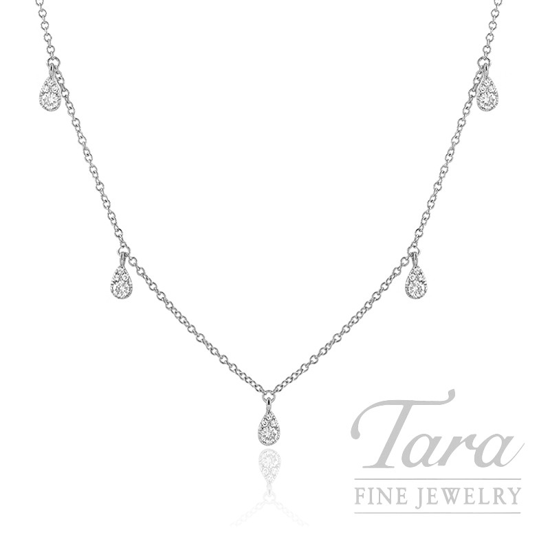 "18k White Gold Diamond Stationary Necklace, 16/17/18"" Chain, 2.3G, .27TDW"