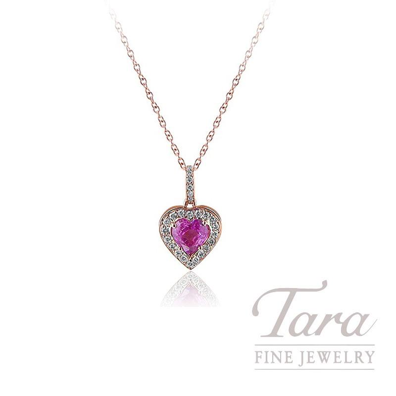 18K Rose Gold Pink Sapphire and Diamond Halo Pendant, 1.5G, .88CT Pink Sapphire, .15TDW