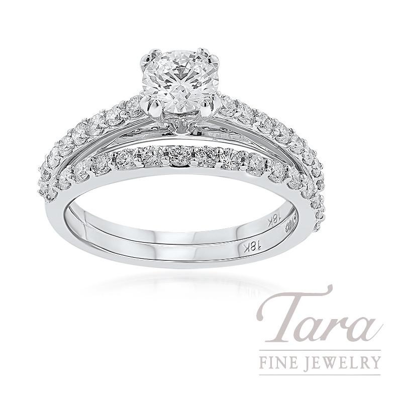 18K White Gold Diamond Wedding Set, .61CT Round Diamond, .65TDW