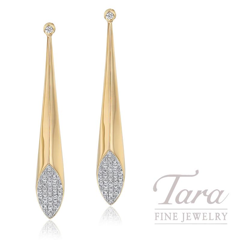 18k Yellow Gold Pave Diamond Fashion Earrings, 6.1G, .27TDW