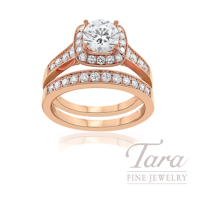 18k Rose Gold Diamond Halo Wedding Set (Center Stone Sold Separately) - Click for Available Sizes!