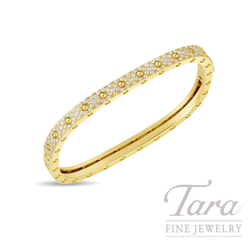 Roberto Coin 18K Yellow Gold Pois Moi Pave Diamond Bangle Bracelet, 1.29TDW, Pois Moi Collection