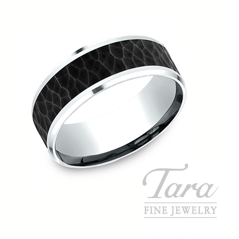 Gentlemen's 18k White Gold and Black Titanium Band, 10.8G