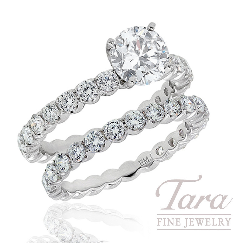 18k White Gold Diamond Wedding Set, 1.49TDW (Center Stone Sold Separately)