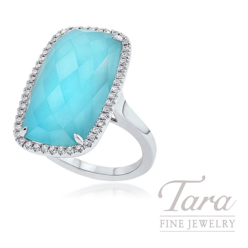 18k White Gold White Topaz Turquoise And Diamond Fashion Ring 10 1g 34tdw Tara Fine Jewelry