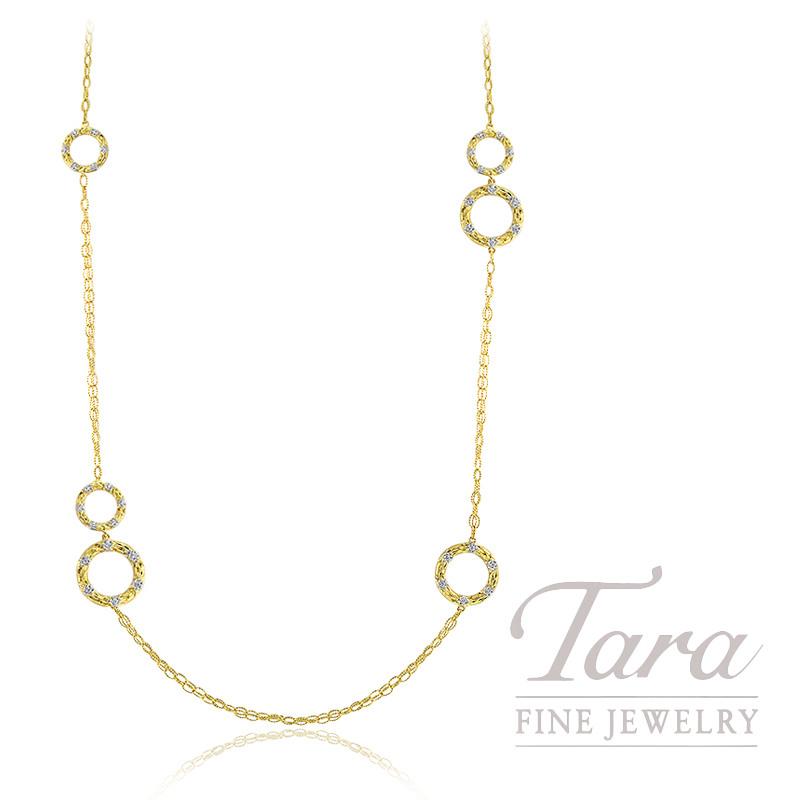 "18K Yellow & White Gold Diamond Necklace, 36"" Chain, 33.2G, 1.08TDW"