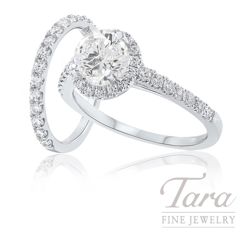 18k White Gold Diamond Halo Engagement Ring and Band, .53TDW (Center Stone Sold Separately)
