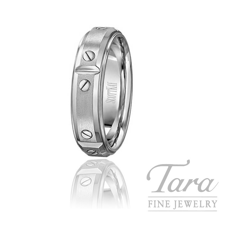 Scott Kay 19k White Gold Men's Wedding Band