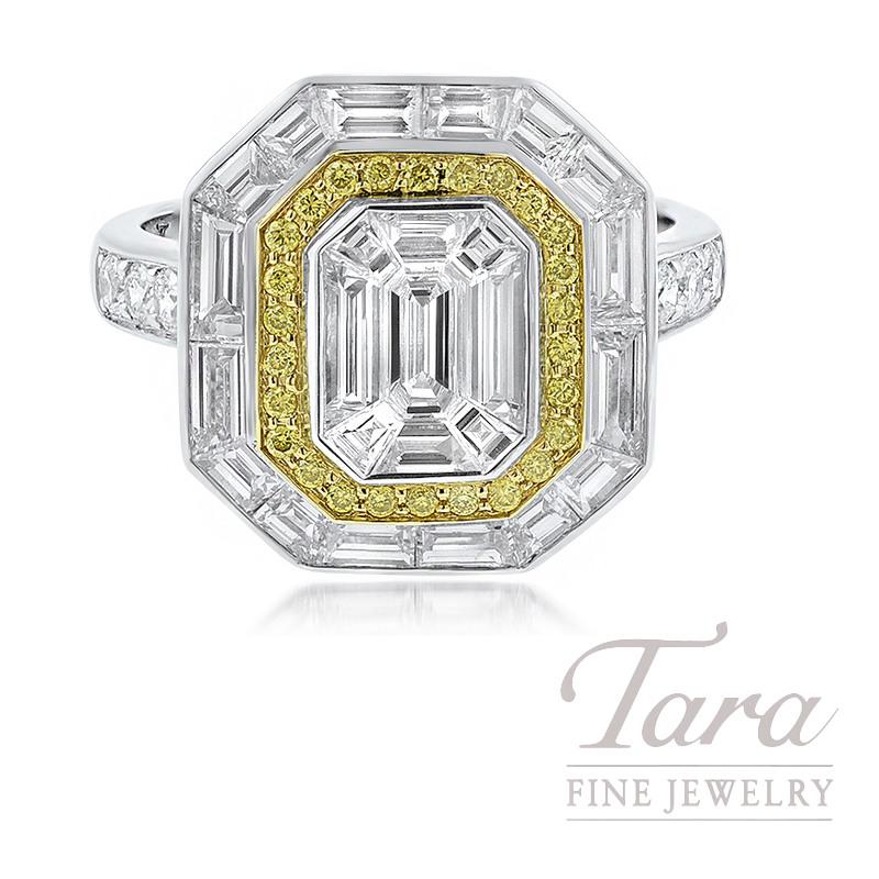 18K White Gold Baguette, Emerald Cut, & Fancy Yellow Diamond Ring, 6.5G, 1.12TDW Baguette Diamonds, .68TDW Emerald Cut Diamonds, .14TDW Fancy Yellow Diamonds, .23TDW Round Diamonds