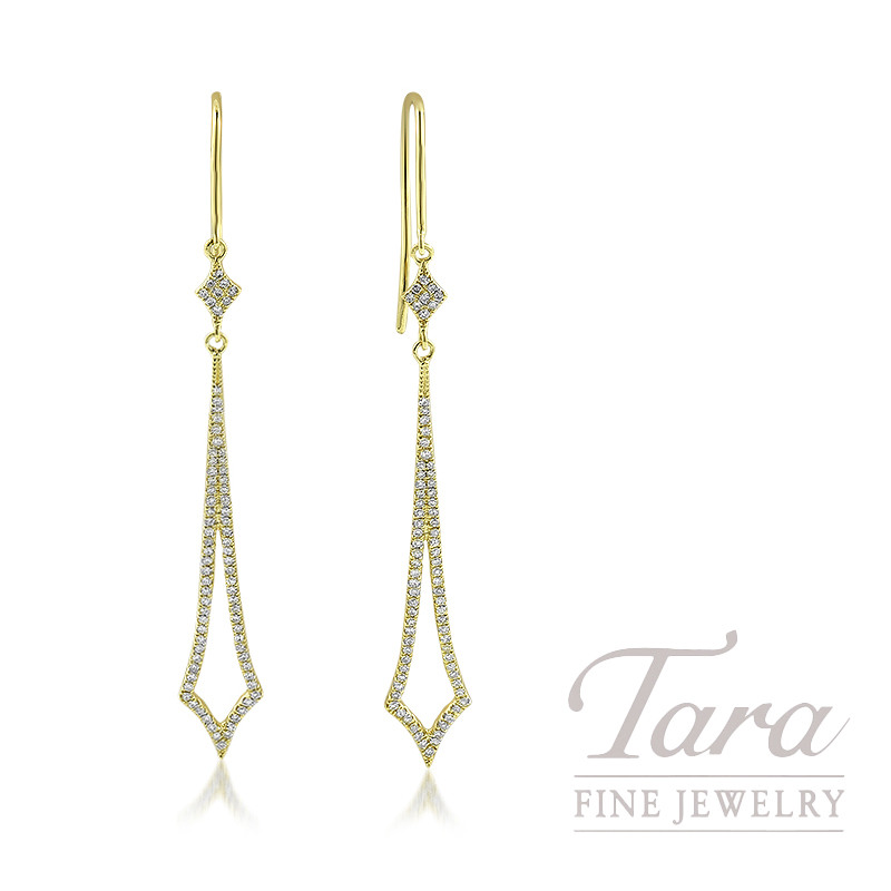 18K Yellow Gold Diamond Dangle Earrings, 2.4G, .36TDW